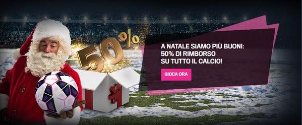 Gazzabet offre a Natale il 50% di rimborso sul calcio