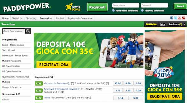 Screenshot del palinsesto Paddy Power per le scommesse