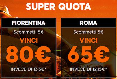 Scommetti Fiorentina Roma e vinci fino a 80 Euro su 888sport.