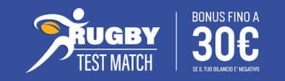 punta Italia Australia SNAI rugby e ricevi 30 Euro bonus