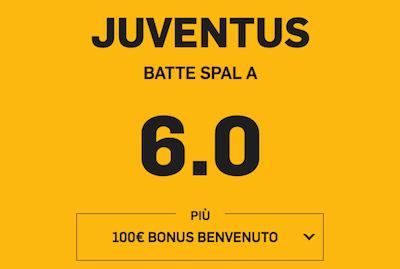 Punta Juventus batte SPAL a quota 6.0 maggiorata Juventus su Betfair per il Black Friday