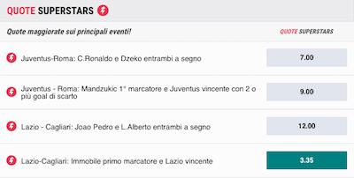 BetStars quote Lazio Cagliari maggiorate con Immobile primo marcatore