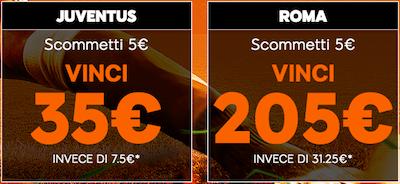 Scommetti Juventus Roma 888sport e vinci dai 35 Euro ai 205 Euro con soli 5 Euro di puntata
