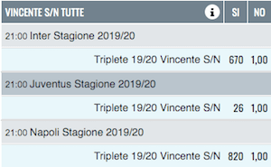 quote vincente triplete snai
